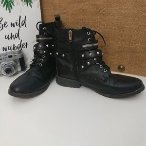 Mossimo black/silver studded combat boots